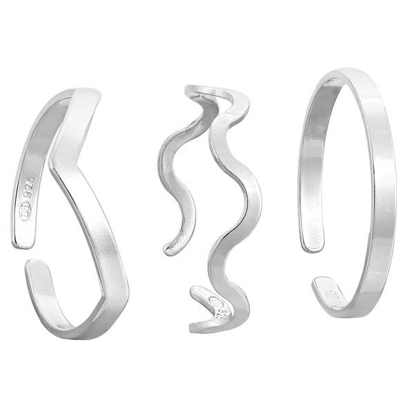 Zehenring-Set - Wavey Silver